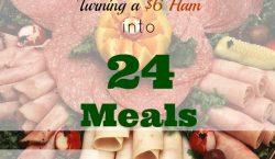 ham into 24 meals, ham, ham sandwich, ham meals, slice of ham