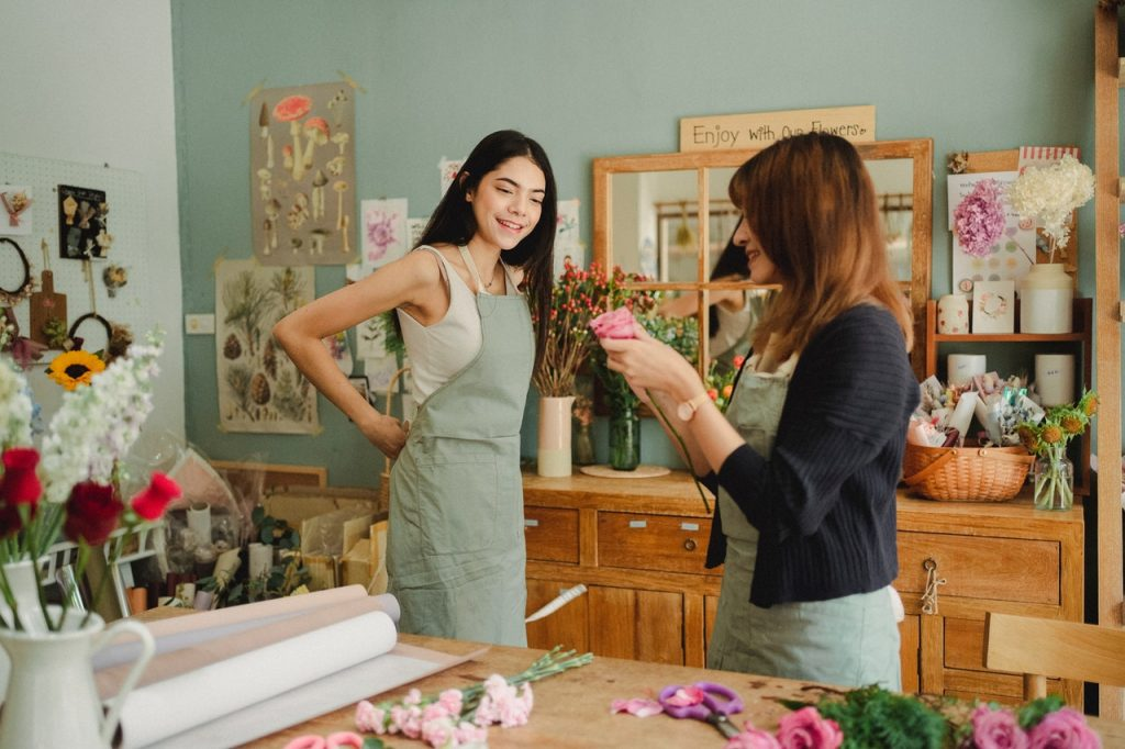 Employees in floral shop