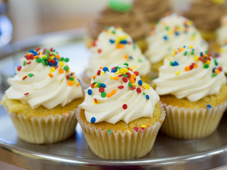 Lemon Cupcakes with Candy Sprinkles Glaze